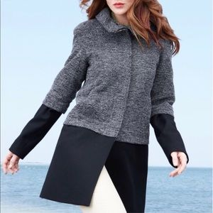 Nine West color block tweed wool pea coat